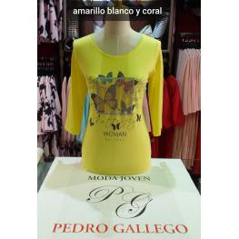 Camiseta Mariposas Amarillas Manga Francesa