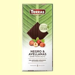 Chocolate Negro Con Avellanas y Stevia Sin Azúcar Añadido Torras Sin Gluten 125 G.