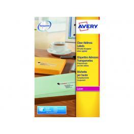 Avery Etiquetas Laser Caja 25 Hojas 400 Ud 99,1X33,9 Transparentes L7562-25