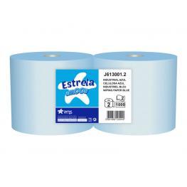 Amoos Papel Secamanos Industrial 2 Capas 235 Mm X 300 Mt Color Azul Paquete de 2 Rollos