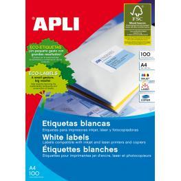Apli Caja 200 Hojas Etiquetas Blancas I/l/c 210,0X148,0 Mm