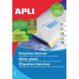 Apli Paquete 25 Hojas Etiquetas Blancas I/l/c 63,5X38,1 Mm