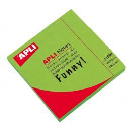 Bloc 100H Notas Adhesivas Verde Funny 75X75 Apli 11899