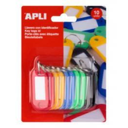 Bolsa 10 Llaveros Colores Plastico 22X51 Apli 17131