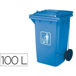 Papelera Contenedor Q-Connect Plastico Con Tapadera 100L Azul 750X470X370 Mm Con Ruedas