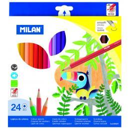 Caja 24 Lapices de Colores Hexagonales Milan 80024