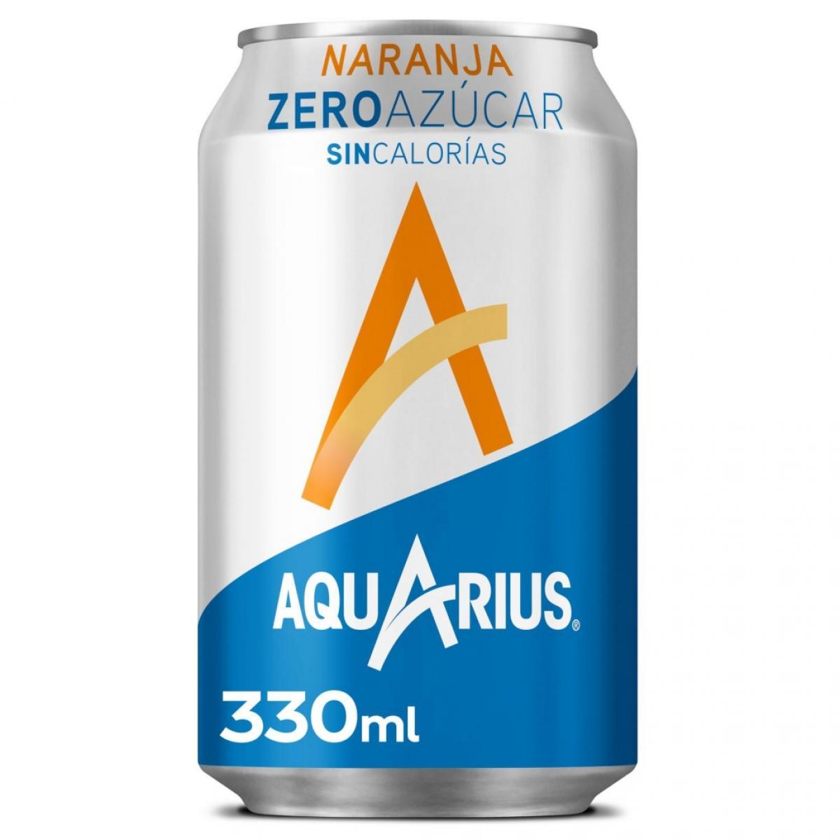 Aquarius sabor naranja zero azúcar sin calorías lata 33 cl.