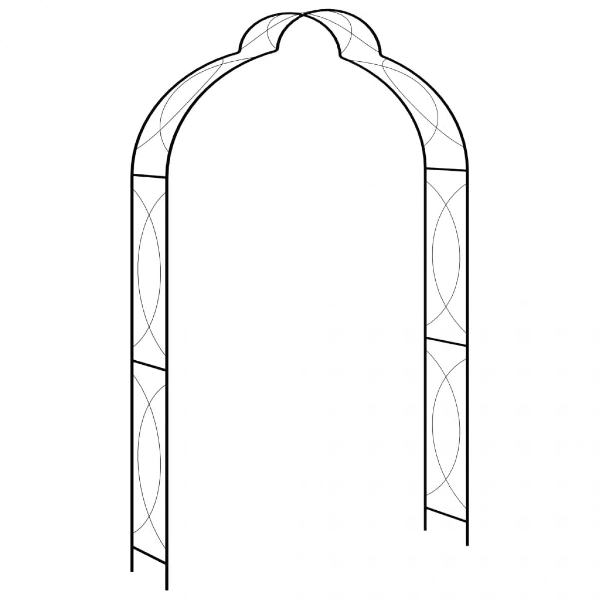 Arco de jardín hierro negro 150x34x240 cm