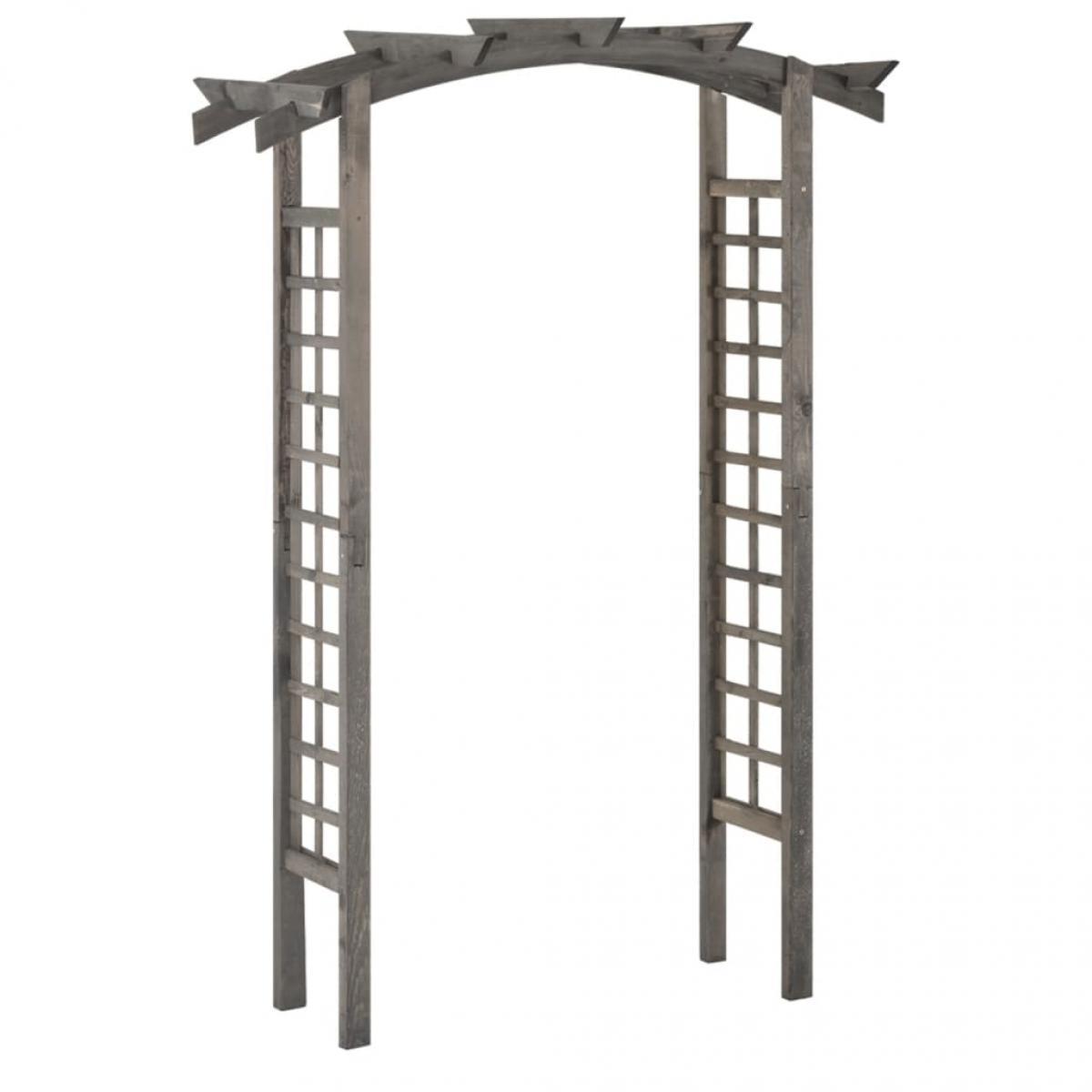 Arco enrejado de madera de pino impregnada gris 150x50x220 cm