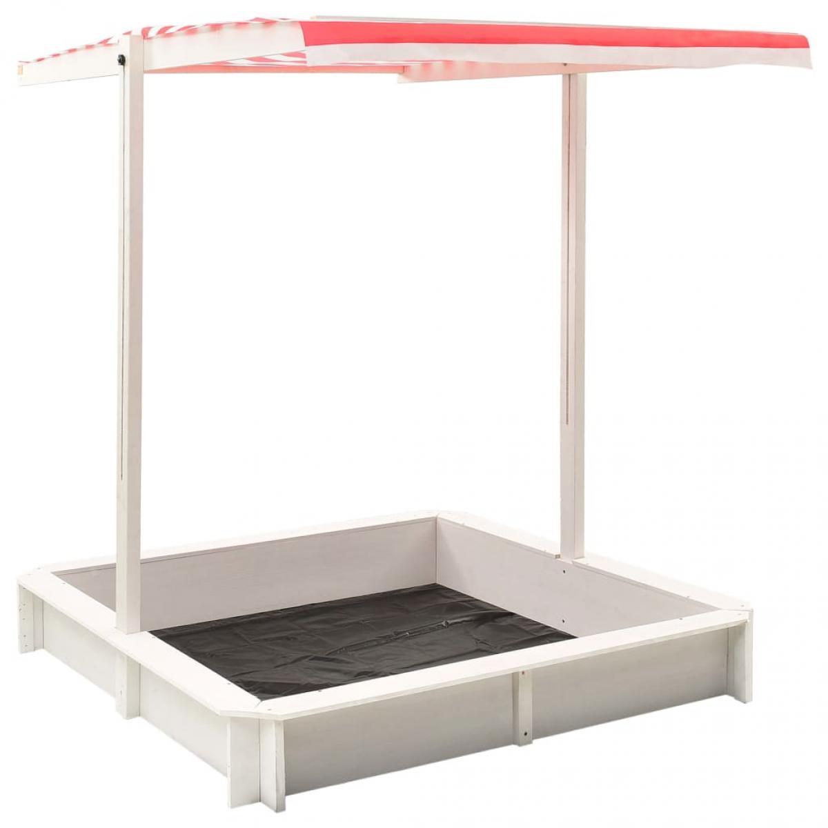 Arenero con tejado ajustable madera abeto blanco y rojo UV50