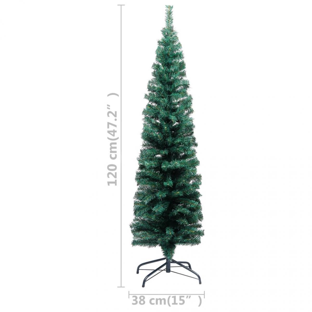 Árbol de Navidad artificial estrecho y soporte PVC verde 120 cm