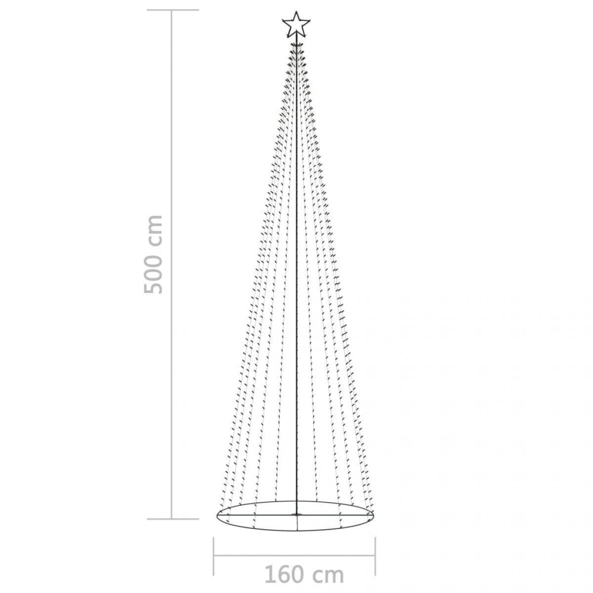 Árbol Navidad cono 752 LEDs blanco cálido adorno 160x500 cm