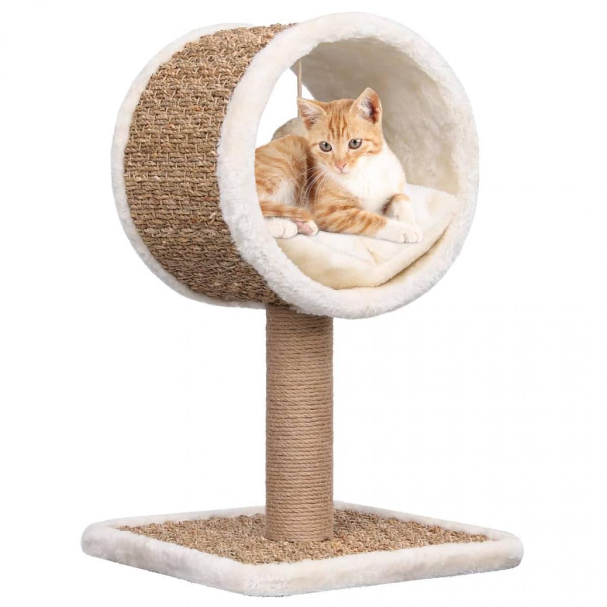 Árbol para gatos túnel superior y juguete hierba marina 56 cm
