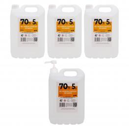 Pack de 3 Garrafas+ 1 Garrafa Con Dosificador Degel Hidroalcohólico 70% 5 Litros