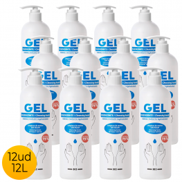 Pack 12Ud Gel Hidroalcohólico 1L 75% Alcohol Con Dispensador Dosificador