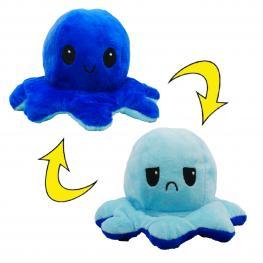 Peluche Pulpo Reversible Azul-Azul Oscuro