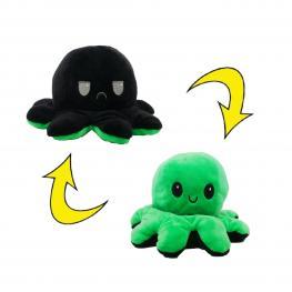 Peluche Pulpo Reversible Verde-Negro