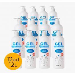 Pack 12Ud Gel Hidroalcohólico 1L 75% Alcohol Con Dispensador Dosificador