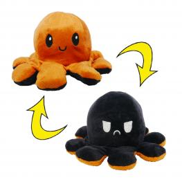 Peluche Pulpo Reversible Marrón - Negro
