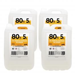 Pack de 4 Garrafas De5 Litros Degel Hidroalcohólico 80% 5 Litros