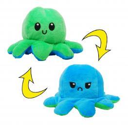 Peluche Pulpo Reversible Verde - Azul