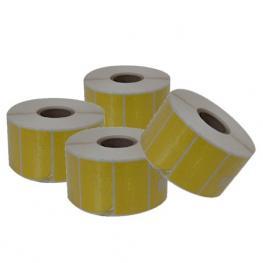 Caja de 60 Rollos de Etiquetas Térmicas Adhesivas Amarillas 40X25