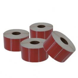 Caja de 60 Rollos de Etiquetas Térmicas Adhesivas Rojas 40X25