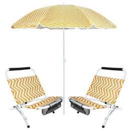 Sombrilla + 2 Sillas de Playa Zigzag Amarilla