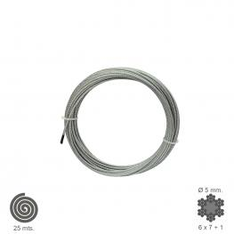 Cable Galvanizado    5 Mm. (Rollo 25 Metros) No Elevacion