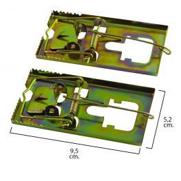Trampa Ratones Metálica Galvanizada 9.5 X 5.2 Cm. (Bolsa 2 Unidades)