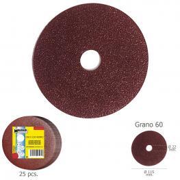 Disco Lija Hierro 115X22 Mm. Grano  60 (Paquete de 25 Unidades)