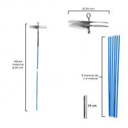 Deshollinador Cepillo Kit Chimeneas 8,4 Metros X 250 Mm. Diametro.