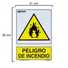 Cartel Peligro de Incendio 30X21 Cm.