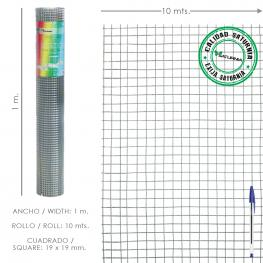 Malla Electrosoldada Galvanizada 19X19 / 100 Cm. Rollo 10 Metros Uso Domestico