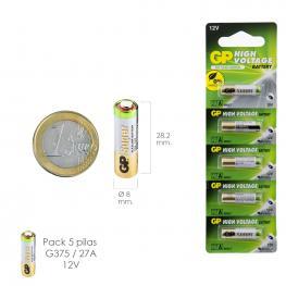 Pila Alcalina G375/ 27A 12 V. Sin Mercurio (Blister 5 Piezas)