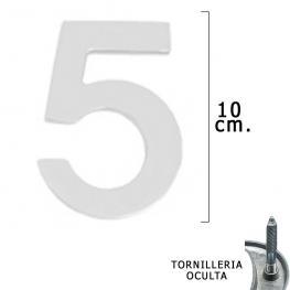Numero Metal 5 Plateado Mate 10 Cm. Con Tornilleria Oculta (Blister 1 Pieza)