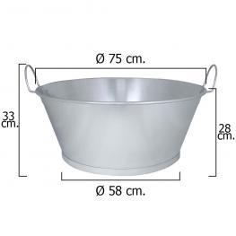 Barreño Galvanizado Baño  30  75X28 Cm. 70 Litros