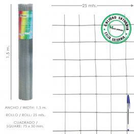 Malla Electrosoldada Galvanizada 75X50 / 1,80 / 150 Cm. Ga Rollo 25 Metros
