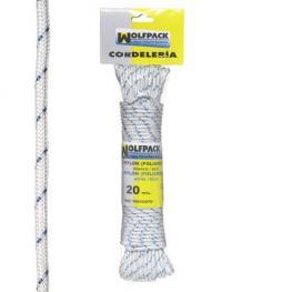 Cuerda Nylon Alta Tenacidad Blanca / Azul (Madeja 20 M.)