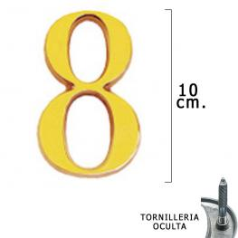 Numero Latón 8 10 Cm. Con Tornilleria Oculta (Blister 1 Pieza)