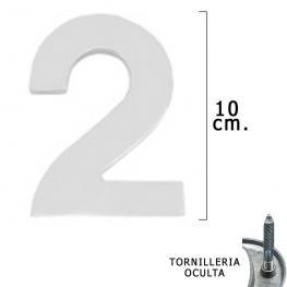 Numero Metal 2 Plateado Mate 10 Cm. Con Tornilleria Oculta (Blister 1 Pieza)