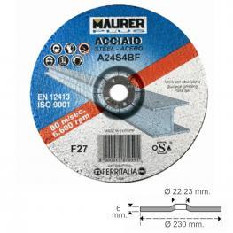 Disco Repasar Abrasivo Acero ø 230 X 6 X 22,23 Mm.