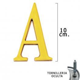 Letra Latón a 10 Cm. Con Tornilleria Oculta (Blister 1 Pieza)