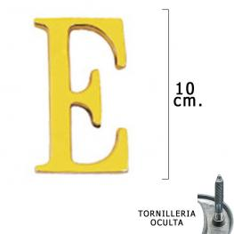 Letra Latón e 10 Cm. Con Tornilleria Oculta (Blister 1 Pieza)