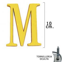 Letra Latón m 10 Cm. Con Tornilleria Oculta (Blister 1 Pieza)