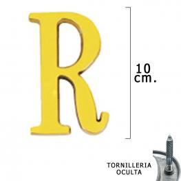 Letra Latón r 10 Cm. Con Tornilleria Oculta (Blister 1 Pieza)