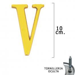 Letra Latón v 10 Cm. Con Tornilleria Oculta (Blister 1 Pieza)