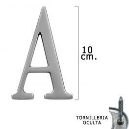 Letra Metal a Plateada Mate 10 Cm. Con Tornilleria Oculta (Blister 1 Pieza)