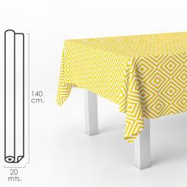 Mantel Hule Rectangular Rombos Amarillos. Impermeable Antimanchas Pvc 140 Cm. X 20 Metros. Rollo Recortable. Interior y Exterior