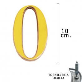 Numero Latón 0 10 Cm. Con Tornilleria Oculta (Blister 1 Pieza)